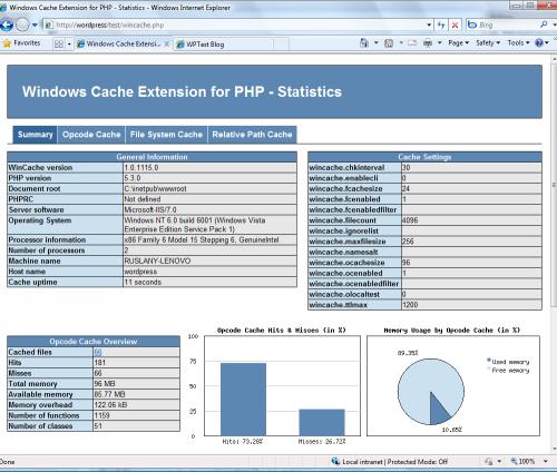 Statistici pentru Windows Cache Extension pentru PHP